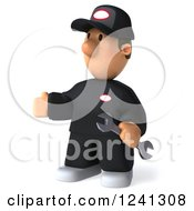 Clipart Of A 3d Happy Male Auto Mechanic Presenting Royalty Free Illustration