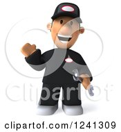Clipart Of A 3d Happy Waving Male Auto Mechanic Royalty Free Illustration