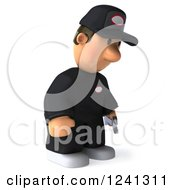 Clipart Of A 3d Sad Male Auto Mechanic 3 Royalty Free Illustration