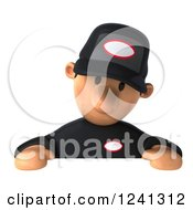Clipart Of A 3d Sad Male Auto Mechanic Looking Down At A Sign Royalty Free Illustration