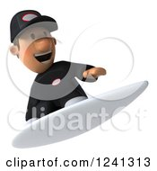 Clipart Of A 3d Happy Auto Mechanic Man Surfing 3 Royalty Free Illustration
