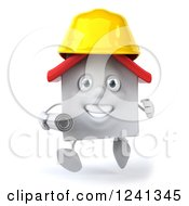 Clipart Of A 3d White House Contractor Running With Blueprints Royalty Free Illustration
