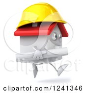 Clipart Of A 3d White House Contractor Running With Blueprints 2 Royalty Free Illustration