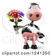 3d Cow Holding A Bouquet Of Flowers