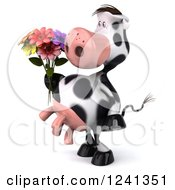 3d Cow Holding A Bouquet Of Flowers 2