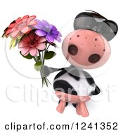 3d Cow Wearing Sunglasses And Holding A Bouquet Of Flowers