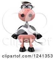 Clipart Of A 3d Bespectacled Cow Royalty Free Illustration