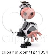 Clipart Of A 3d Bespectacled Cow 2 Royalty Free Illustration
