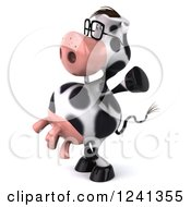 Clipart Of A 3d Bespectacled Cow Holding His Arms Up Royalty Free Illustration