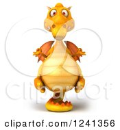 Clipart Of A 3d Yellow Dragon Meditating Royalty Free Illustration