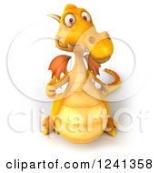 Clipart Of A 3d Yellow Dragon Holding A Thumb Up Royalty Free Illustration