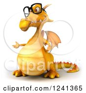 Clipart Of A 3d Bespectacled Yellow Dragon Presenting Royalty Free Illustration