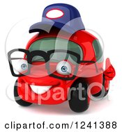 Clipart Of A 3d Red Bespectacled Compact Mechanic Car Holding A Thumb Up Royalty Free Illustration