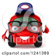 Clipart Of A 3d Red Bespectacled Compact Mechanic Car Holding A Thumb Up 2 Royalty Free Illustration