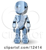 Blue Metal Robot Standing With His Arms At His Side Clipart Illustration