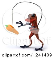 Clipart Of A 3d Red Springer Frog Chasing A Carrot On A Stick Royalty Free Illustration