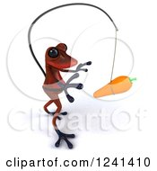 Clipart Of A 3d Red Springer Frog Chasing A Carrot On A Stick 2 Royalty Free Illustration