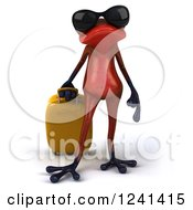 Clipart Of A 3d Red Springer Frog With Rolling Luggage And Sunglasses Royalty Free Illustration