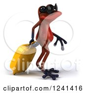 Clipart Of A 3d Red Springer Frog With Rolling Luggage And Sunglasses 2 Royalty Free Illustration