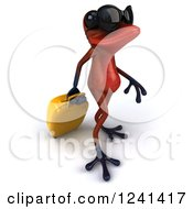 Clipart Of A 3d Red Springer Frog With Rolling Luggage And Sunglasses 3 Royalty Free Illustration