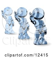 Three Blue Metal Robot Waving