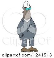 Clipart Of A Black Worker Man In Coveralls Royalty Free Illustration