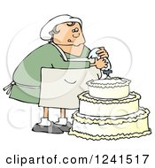Clipart Of A Chubby White Baker Chef Woman Frosting A Wedding Cake Royalty Free Illustration by djart