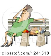 Clipart Of A Tired White Woman Resting On A Bench By Grocery Bags Royalty Free Vector Illustration