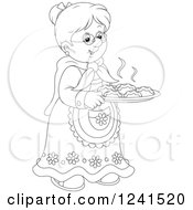 Clipart Of A Black And White Happy Granny With Fresh Baked Rolls Royalty Free Vector Illustration