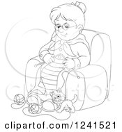 Clipart Of A Black And White Happy Granny Knitting While A Kitten Plays With Yarn Royalty Free Vector Illustration