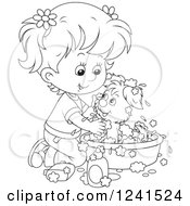 Clipart Of A Black And White Girl Washing A Puppy In A Tub Royalty Free Vector Illustration by Alex Bannykh
