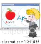 Clipart Of A Blond School Boy Spelling Apple On A White Board Royalty Free Vector Illustration by Alex Bannykh
