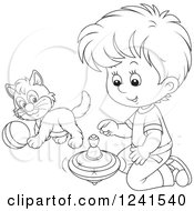 Clipart Of A Black And White Boy Playing With A Spinner And Kitten Royalty Free Vector Illustration
