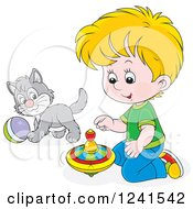 Clipart Of A Blond Caucasian Boy Playing With A Spinner And Kitten Royalty Free Vector Illustration