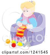Clipart Of A Happy Blond Caucasian Granny Knitting While A Kitten Plays With Yarn Royalty Free Vector Illustration