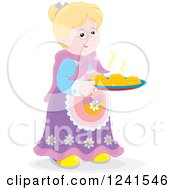 Clipart Of A Happy Blond Granny With Fresh Baked Rolls Royalty Free Vector Illustration