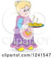 Clipart Of A Happy Blond Caucasian Granny With Fresh Baked Rolls Royalty Free Vector Illustration