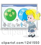 Clipart Of A Blond School Girl Doing A Biology Study Royalty Free Vector Illustration by Alex Bannykh