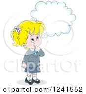 Clipart Of A Thinking Blond Caucasian School Girl 2 Royalty Free Vector Illustration by Alex Bannykh