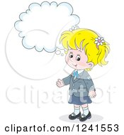 Clipart Of A Thinking Blond Caucasian School Girl 4 Royalty Free Vector Illustration by Alex Bannykh