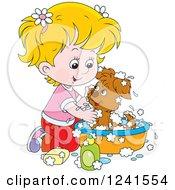 Blond Girl Washing A Puppy In A Tub