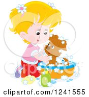 Clipart Of A Blond Caucasian Girl Washing A Puppy In A Tub Royalty Free Vector Illustration by Alex Bannykh