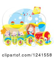 Clipart Of Children Riding A Train With A Kite Above Royalty Free Vector Illustration