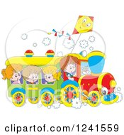 Clipart Of Caucasian Children Riding A Train With A Kite Above Royalty Free Vector Illustration