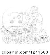 Clipart Of Black And White Children Riding A Train With A Kite Above Royalty Free Vector Illustration