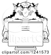 Clipart Of A Black And White Troll Using A Computer Royalty Free Vector Illustration by Cory Thoman