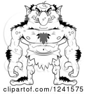 Clipart Of A Black And White Grinning Evil Troll Royalty Free Vector Illustration by Cory Thoman