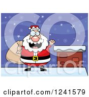 Clipart Of A Jolly Santa Waving And Carrying A Sack On A Snowy Roof Top Royalty Free Vector Illustration