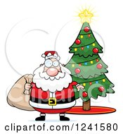 Clipart Of A Jolly Santa With A Christmas Sack By A Tree Royalty Free Vector Illustration