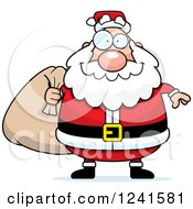 Clipart Of A Jolly Santa Carrying A Christmas Sack Royalty Free Vector Illustration